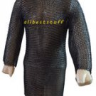 Chainmai Shirt Butted with Blackend Chain Mail Shirt Long with 5 inch slit