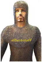 Mild Steel Chain Mail Flat Riveted with Flat Washar Shirt and Coif Set Hauberk