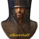 MS Chain Mail Butted Coif Standard Size Blackend Chainmail Coif V Shape