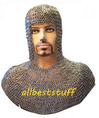 Chain Mail Coif Flat Rivet with Flat Washer Standard Size Chainmail Coif