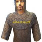 MS Flat Riveted with Flat Washer Chain Mail Shirt with Coif in 8mm
