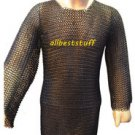 MS Chainmail Shirt Butted with Blackend Coating & V Shape Coif Set Medium