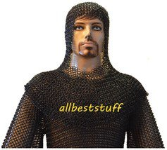 16 Gauge Chain Mail Armor Shirt and Coif Set Chainmail Butted Shirt & Coif SMALL