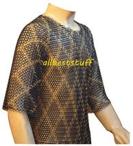 Designer Chainmail Hauberk Butted Blackend Chain Mail Shirt with Brass Shirt