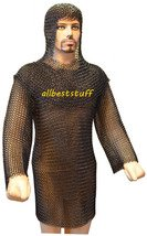 Butted Chain Mail Hauberk & Coif Set 16 Gauge Butted Chainmail Shirt Black