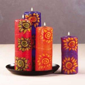 Sunburst Cylinder Candle Set