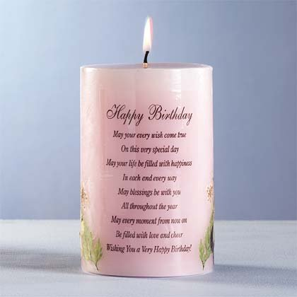 Happy Birthday Candle with Dried Flowers