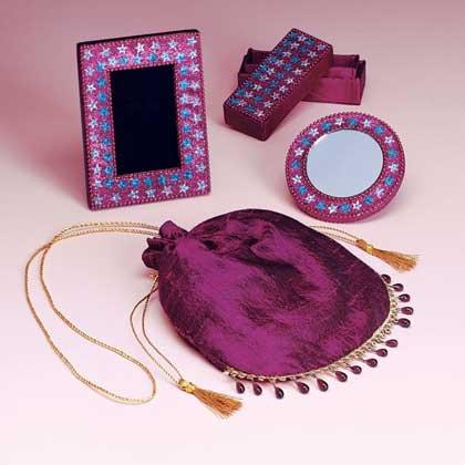 Beaded Vanity Set in Silk Bag