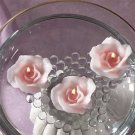 Peach Roses Floating Candles Set of 3