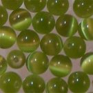 Olive Green Cats Eye 4mm Round Beads (GL1141)