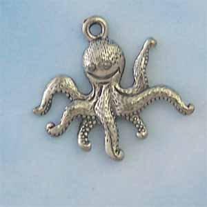 Octupus Pewter Charm - Antique silver (PC421)