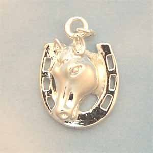 Horseshoe with Horse Silver Charm (PC607)