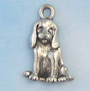 Dog Pewter Charm - Antique silver (PC411)