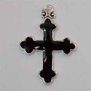 Large Black Cross Pendant (PC469)
