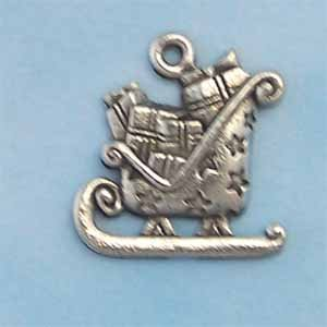 Christmas Sled Pewter Charm - Antique Silver (PC393)