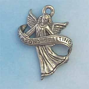 Angel Seasons Greeting Pewter Charm - Antique Silver (PC395)