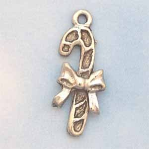 Candy Cane Pewter Charm - Antique Silver (PC389G)