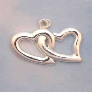 Double Hearts Silver Charm (PC600)