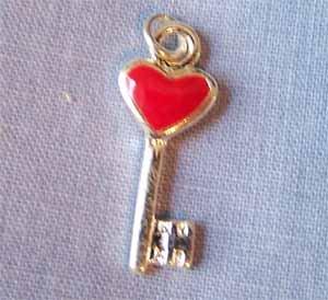 Red Heart Key Charm (PC598)
