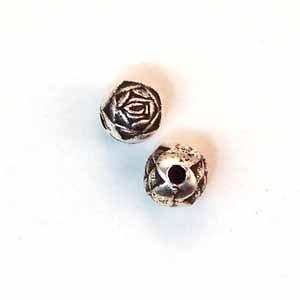 Rosebud Metal Beads, 6mm Silver-Plated (ME1333)