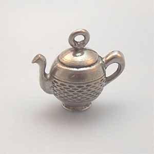 Ancient Tea Pot Pewter Charm - Antique Silver (PC435)