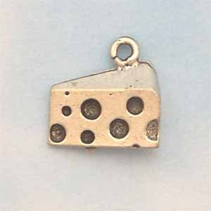 Cheese Pewter Charm - Antique Silver (PC432)