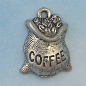 Coffee Beans Bag Pewter Charm - Antique Silver (PC433)