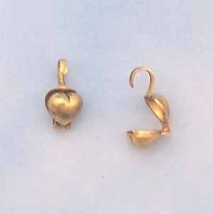 Heart Bead Tips - Antique Gold Plated (FI1092)