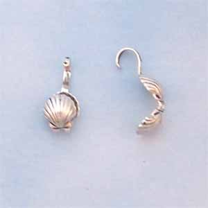 Shell Bead Tips - Antique Silver Plated (FI1093)