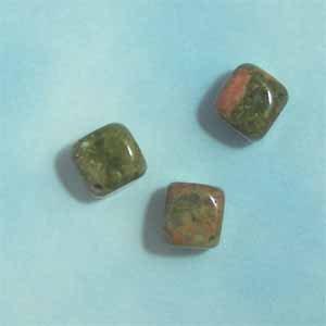 Unakite 10mm Cube Beads (GE1416)