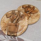 Lucite Trivets Wood Embeds USA Vintage Set of 2 Mid Century