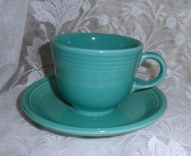 Fiesta Turquoise Flat Cup & Saucer Set 1990