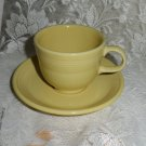 Fiesta Yellow Flat Cup & Saucer Set 1987 to 2002