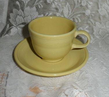 Fiesta Yellow Flat Cup & Saucer Set 1987 to 2002