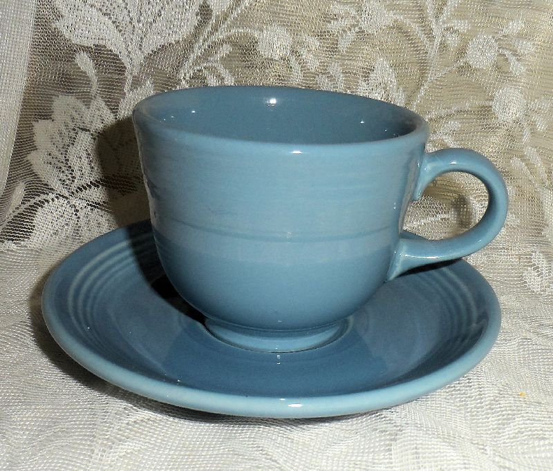 Fiesta Periwinkle Blue Flat Cup & Saucer Set 1989 to 2006