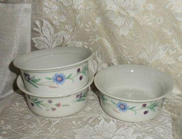 Oneida Ava Dessert Fruit Sauce Bowls Porcelain Set of 3