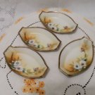 Nippon Porcelain Hand Painted Salt Cellars Moriage Trim Set of 4