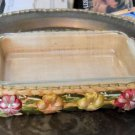 Fire King Glass Clear Baking Dish with Straw Basket Holder