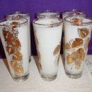 "Rare ""Vintage Mist"" Pattern Bartlett Collins Tumblers Set of 6"