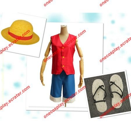 (Free Shipping) Monkey D. Luffy Cosplay Costume With Hat ,Shoes