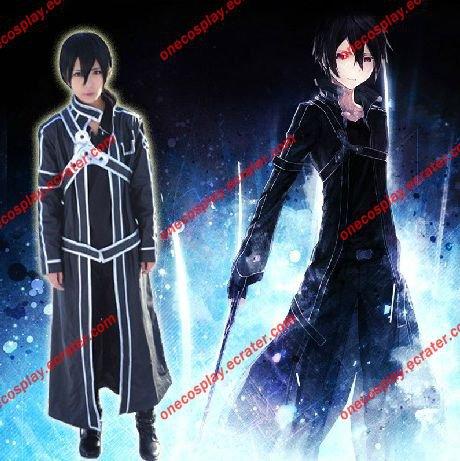 Sword Art Online kirigaya kazuto/ Kirito Cosplay Costume Set