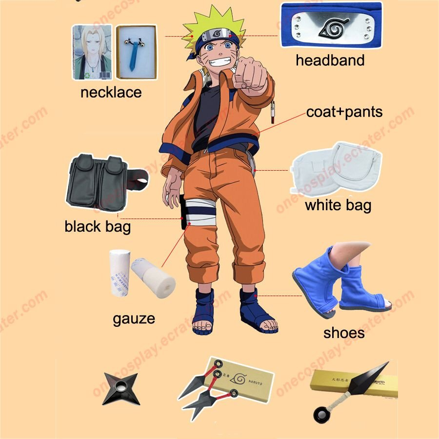 Naruto Cosplay Costume Naruto Shippuden Uzumaki Naruto 1st Cosplay Costume and Accessories Set