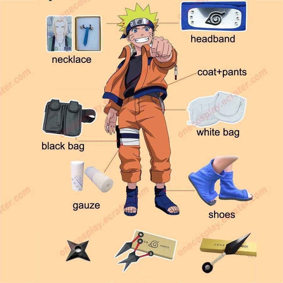 Naruto Cosplay Costume Naruto Shippuden Uzumaki Naruto 1st Cosplay Costume and Accessories Set