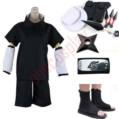 Anime Naruto Uchiha Sasuke 2nd Cosplay Costume and Accessories Set