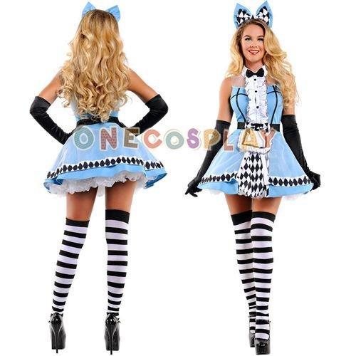 Alice in Wonderland Cosplay Costumes Poker Fashion Dress Fancy Maid Uniform Dress