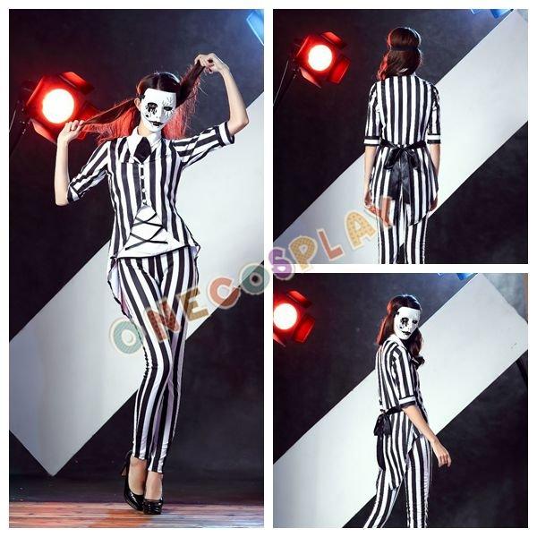 New Vampire Cosplay Costumes Prisoner Stripe Fancy Uniform Set for Halloween Xmas Party