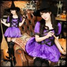 New Hot Purple Witch Cosplay costumes Women Fashion Fancy Dress with hat for Halloween Party