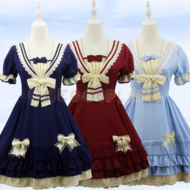 Lolita Princess Dress Tea Party Cosplay Costumes Women Fancy Sailor Suit Maid Dress for Halloween