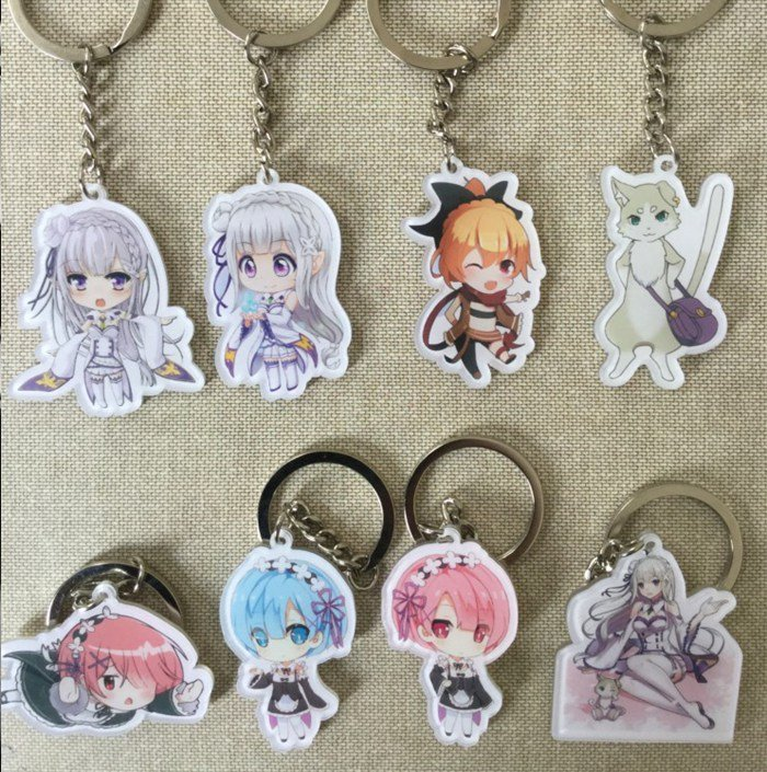 Re:Zero kara Hajimeru Isekai Seikatsu Cosplay Key Chains Pendants Phone Charm Keychains