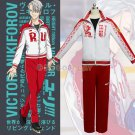 Yuri!!! on Ice Cosplay Clothes Viktor Nikiforov Cosplay Costume Red Sportswear Set